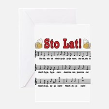 Sto Lat! Song With Beer Mugs Greeting Card