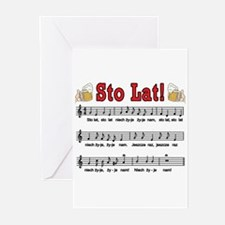 Sto Lat! Song With Beer Mugs Greeting Cards (Pk of
