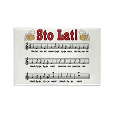 Sto Lat! Song With Beer Mugs Rectangle Magnet (100