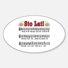 Sto Lat! Song With Beer Mugs Sticker (Oval)
