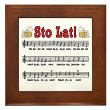 Sto Lat! Song With Beer Mugs Framed Tile