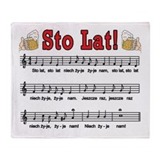 Sto Lat! Song With Beer Mugs Throw Blanket