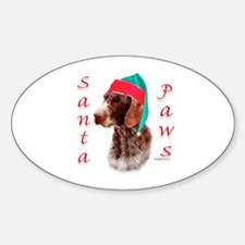Santa Paws Wirehaired Pointer Oval Decal