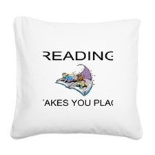 Reading Takes You Places Square Canvas Pillow
