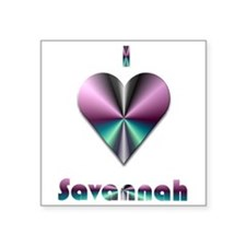 "I Love Savannah #2 Square Sticker 3"" x 3"""