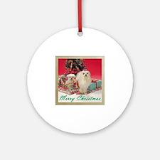 Maltese Christmas Ornament (Round)