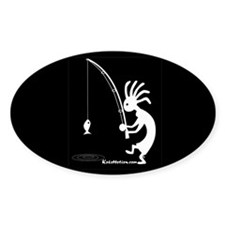 Kokopelli Fisherman Oval Decal