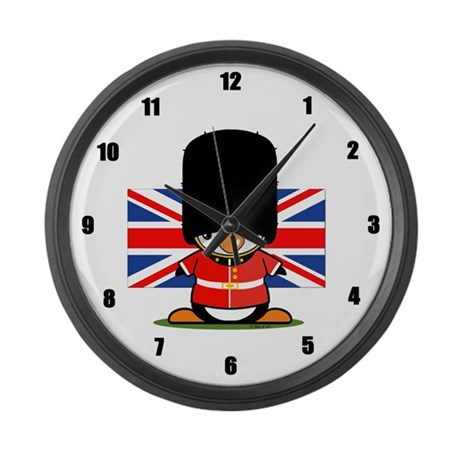 British Soldier Penguin Large Wall Clock