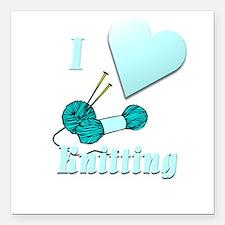 "I Love Knitting Square Car Magnet 3"" x 3"""