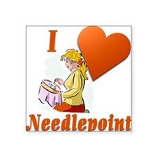 "I Love Needlepoint Square Sticker 3"" x 3"""