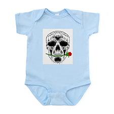 Rose in Teeth White Skull Infant Creeper