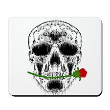 Rose in Teeth White Skull Mousepad