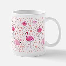 Pink Flamingos and dots pattern Mugs