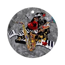 Piece of My Heart Piano Sax Heart Round Ornament