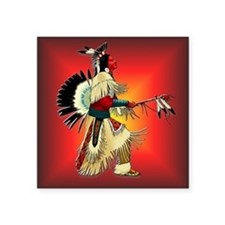 "Native American Warrior #6 Square Sticker 3"" x 3"""
