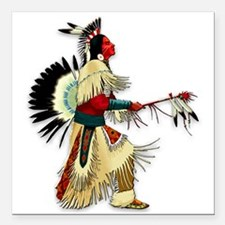 "Native American Warrior #5 Square Car Magnet 3"" x"