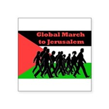 "Global March to Jerusalem Square Sticker 3"" x 3"""