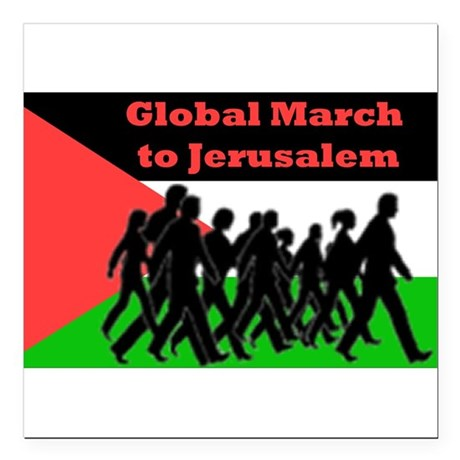"Global March to Jerusalem Square Car Magnet 3"" x 3"