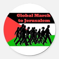 Global March to Jerusalem Round Car Magnet