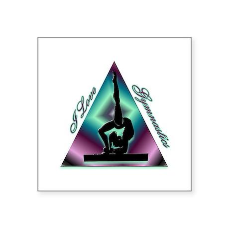 "I Love Gymnastics Triangle #2 Square Sticker 3"" x"