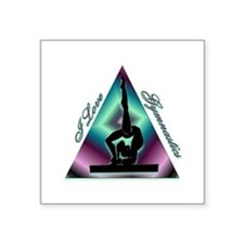 "I Love Gymnastics Triangle #2 Square Sticker 3"" x"