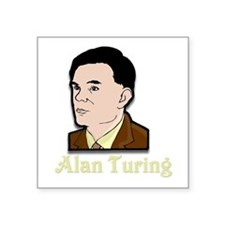 "Alan Turing Square Sticker 3"" x 3"""