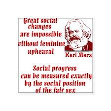 "Karl Marx on Women Square Sticker 3"" x 3"""
