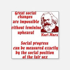 "Karl Marx on Women Square Sticker 3"" x 3"""