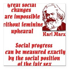 "Karl Marx on Women Square Car Magnet 3"" x 3"""