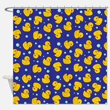 Blue Rubber Duckie Shower Curtain