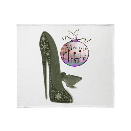 Christmas Stiletto Shoe Art Throw Blanket