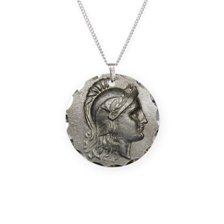 Ancient Coin showing Athena Necklace Circle Charm