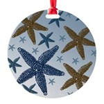 Gold and Blue Starfish Round Ornament