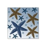 Gold and Blue Starfish Square Sticker 3