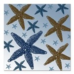 Gold and Blue Starfish Square Car Magnet 3
