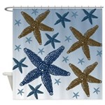 Gold and Blue Starfish Shower Curtain
