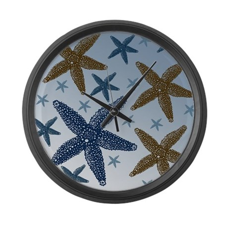 Gold and Blue Starfish Large Wall Clock