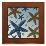 Gold and Blue Starfish Framed Tile