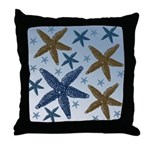 Gold and Blue Starfish Throw Pillow