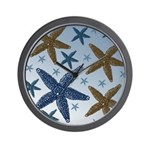 Gold and Blue Starfish Wall Clock