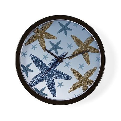 Gold and Blue Starfish Wall Clock