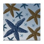 Gold and Blue Starfish Tile Coaster