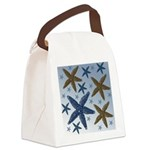 Gold and Blue Starfish Canvas Lunch Bag