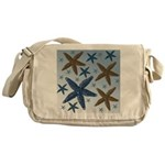 Gold and Blue Starfish Messenger Bag