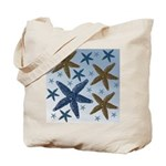 Gold and Blue Starfish Tote Bag