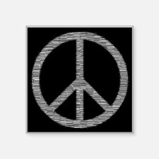 """White Peace Sign Square Sticker 3"""" x 3"""""""
