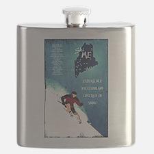 Vintage Ski ME Poster Flask