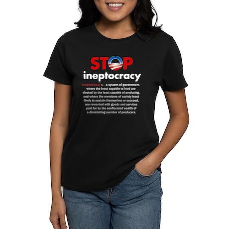 Stop Obama's Ineptocracy Women's Dark T-Shirt