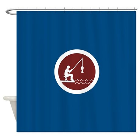Navy Blue Fishing Shower Curtain