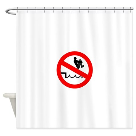 Funny no pool bombing sign Shower Curtain